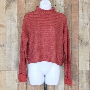 Lush Ribbed Brushed Mock Sweater Rust New